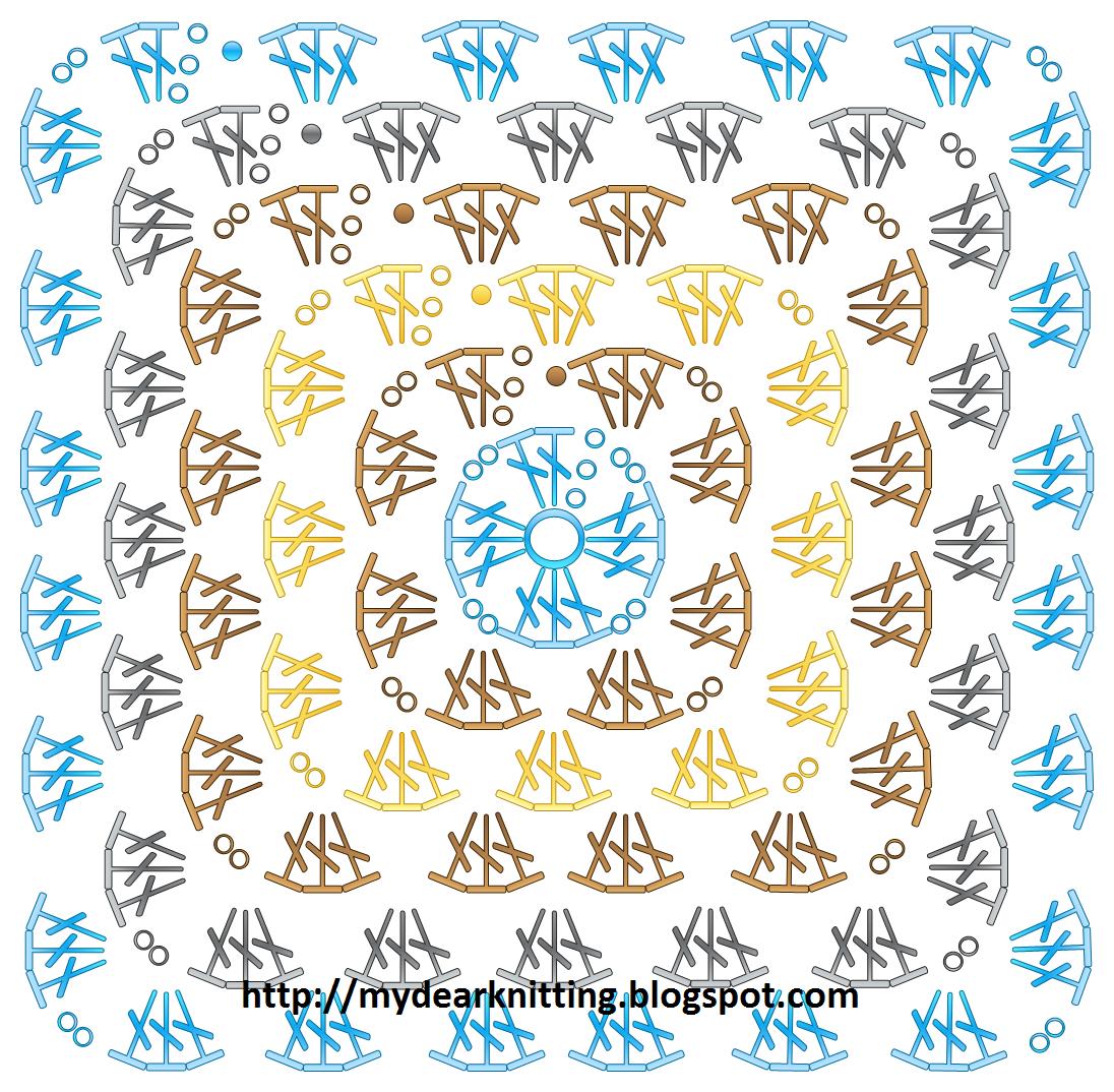 пледы бабушкин квадрат крючком схемы разноцветные
