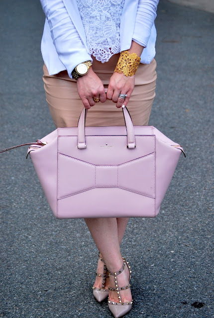 Valentino Rockstud, kate spade purse, how to style blushes