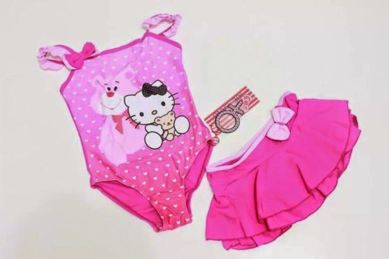 Gambar baju renang hello kitty warna pink untuk anak perempuan