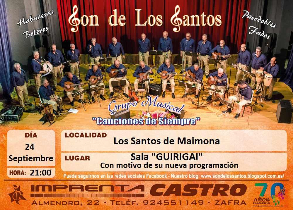 ÚLTIMAS NOTICIAS: Concierto en la Sala GUIRIGAI de Los Santos de Maimona, 24 de septiembre de 2016