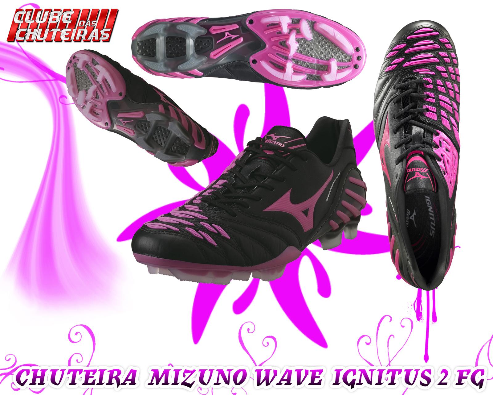 Chuteira Mizuno Wave Ignitus 2 FG Preto e Magenta - Clube Das Chuteiras b162a05db21aa