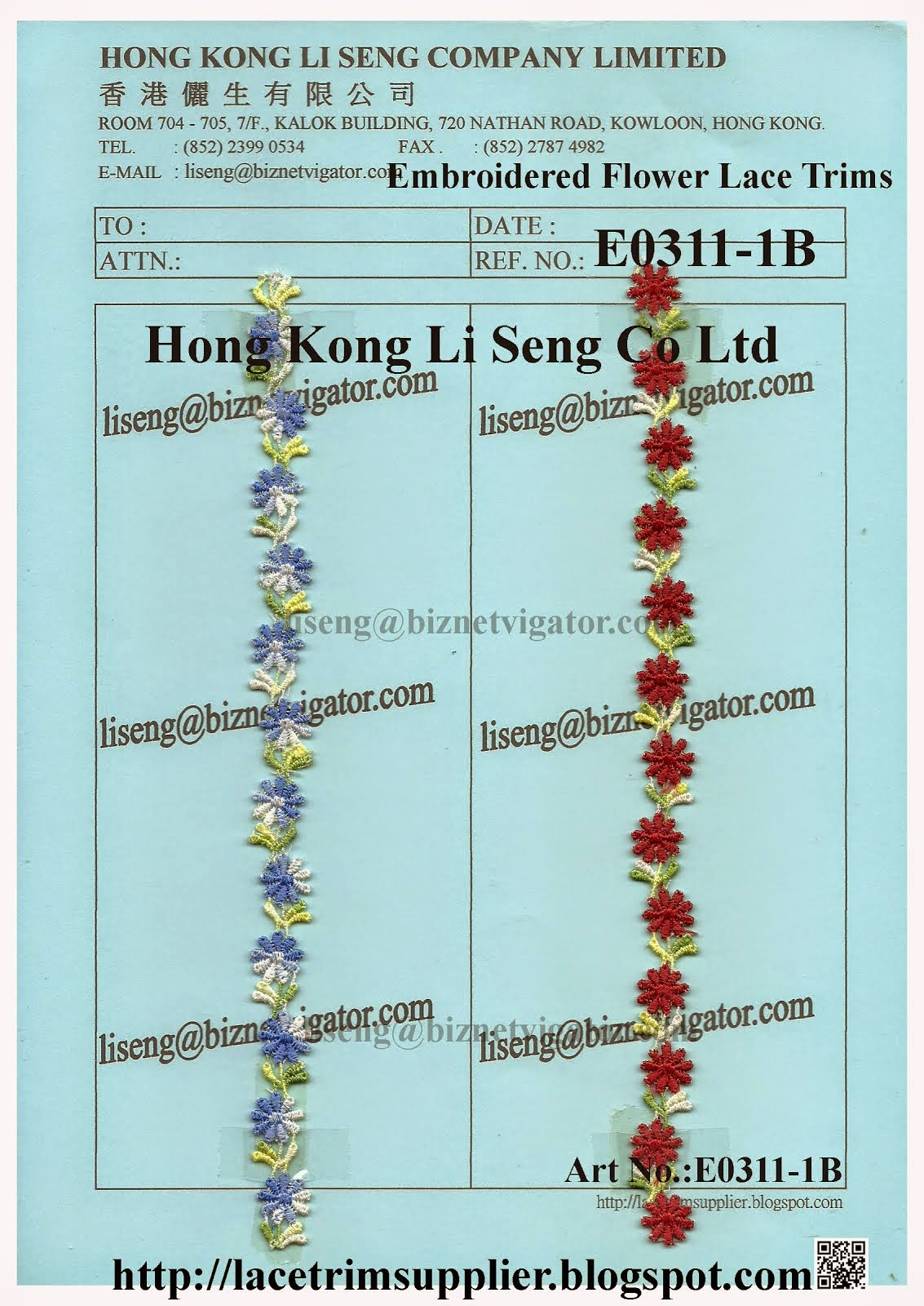Wholesale Embroidered Flower Lace Trimming Manufacturer Supplier - Hong Kong Li Seng Co Ltd