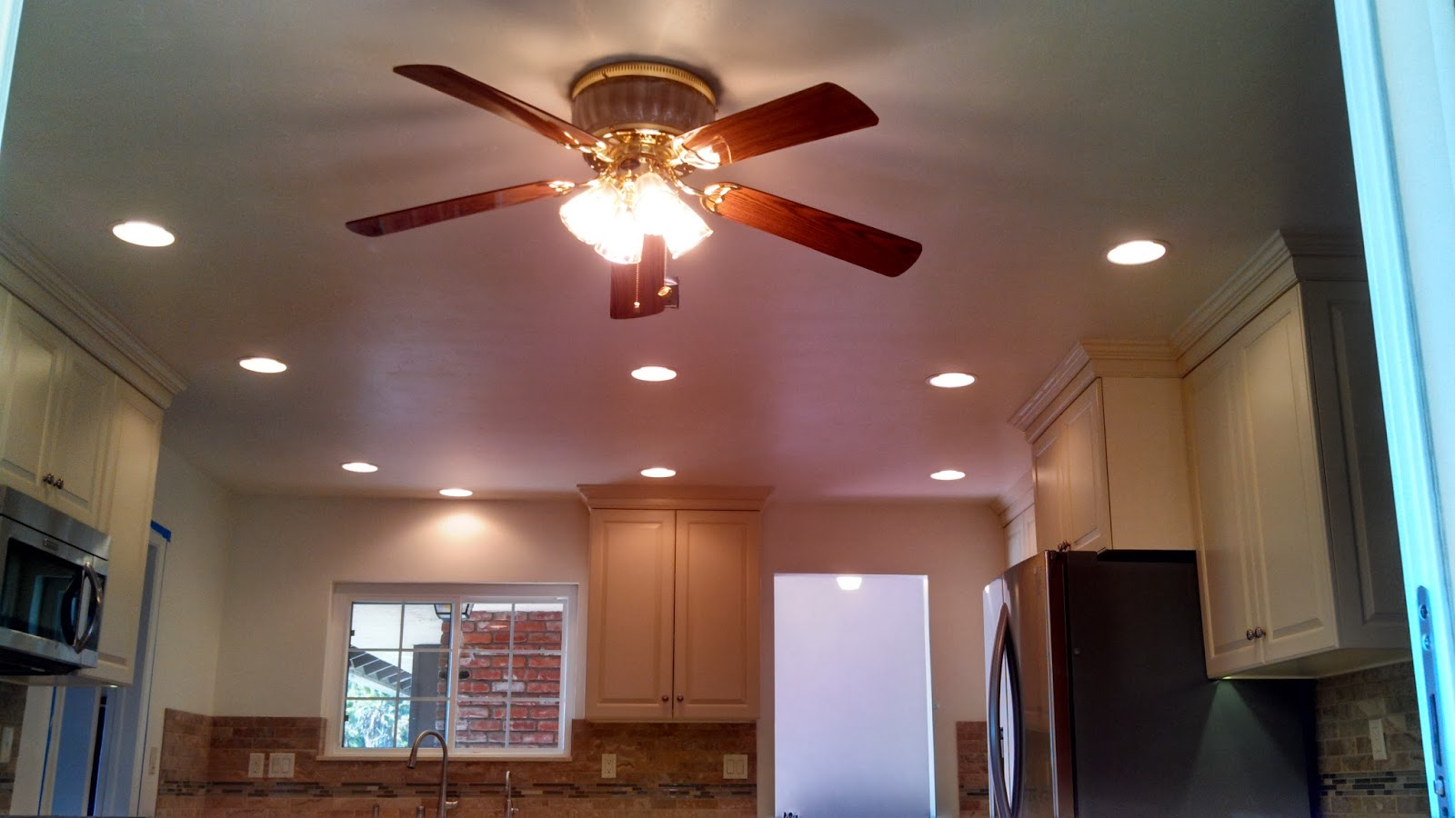 Daily Activities can lights in kitchen with enhanced lighting Install and wired 6 recess can lights to complement new kitchen layout Two seperate zones switched seperately with dimmer