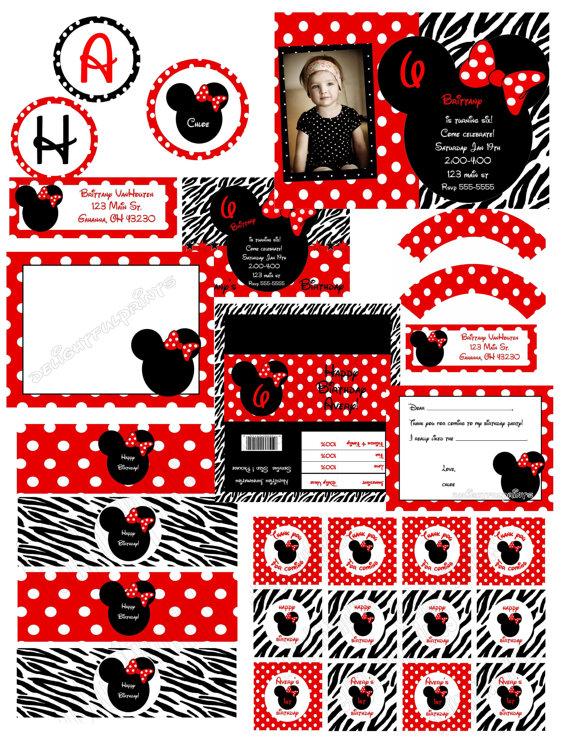 Imprimibles de Minnie Mouse en fondo rojo con lunares blancos y en