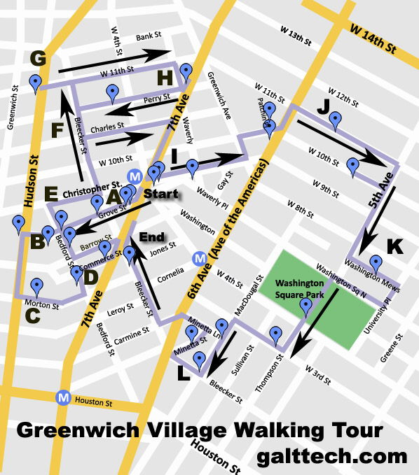 image relating to Nyc Walking Map Printable named ChrisBs Questions: Greenwich Village Strolling Excursion