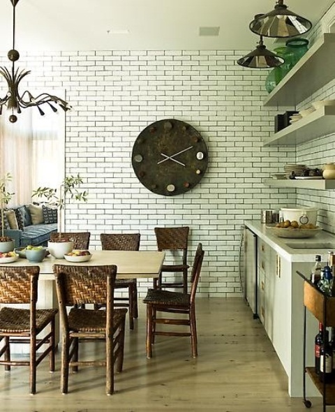 Modern Furniture: Traditional Kitchen With Brick Walls