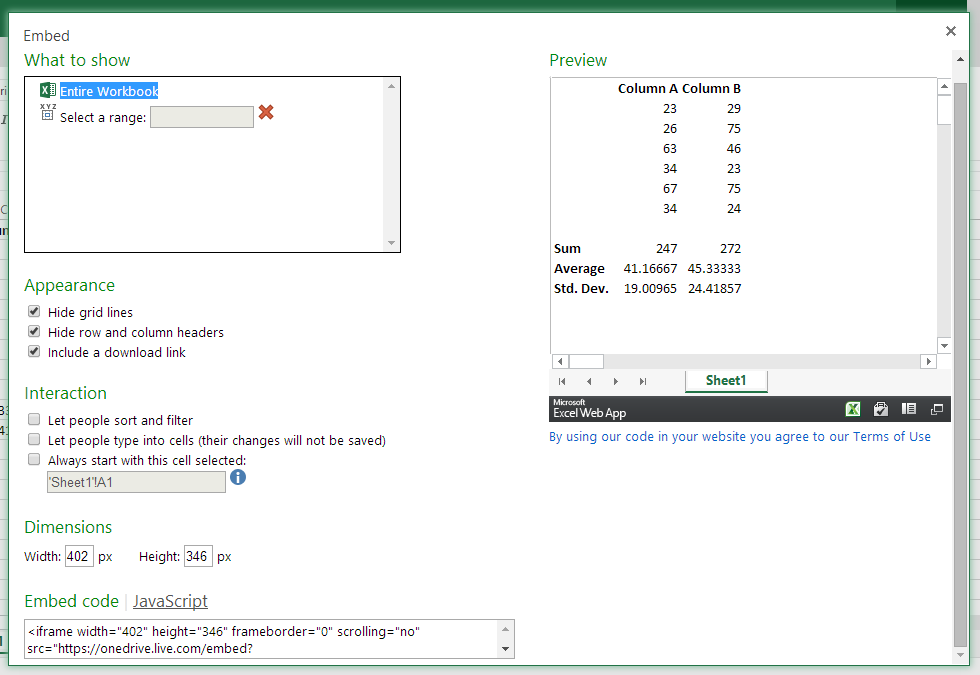 Pilihan saat mengembed spreadsheet