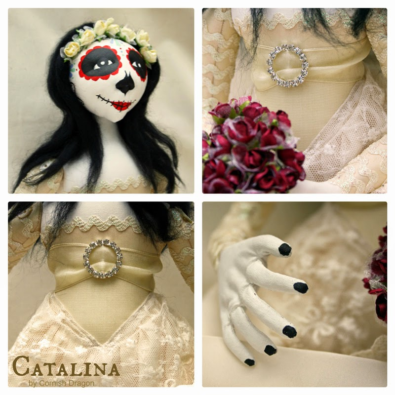 cloth art doll day of the dead doll