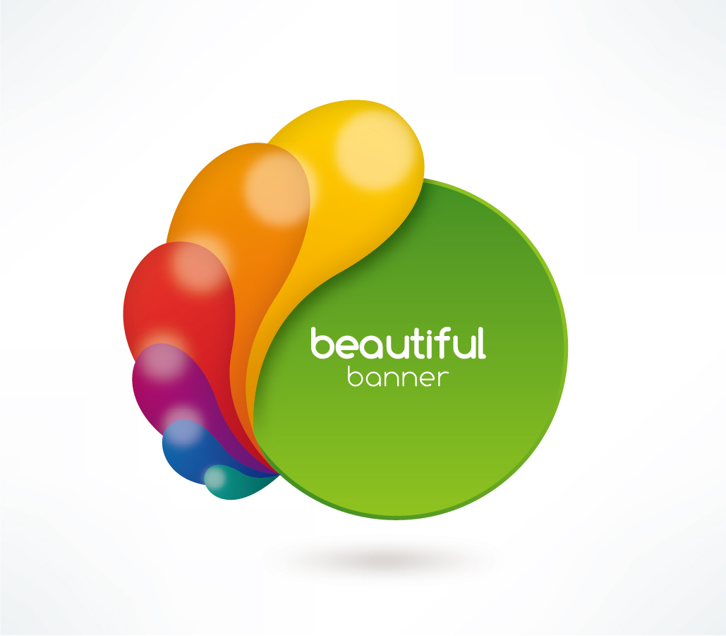 カラフルな色を重ねたホイール形バナー color wheel banner イラスト素材