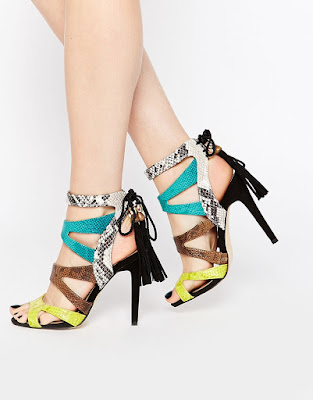 river island multicolored strappy high heels with tassels in the back