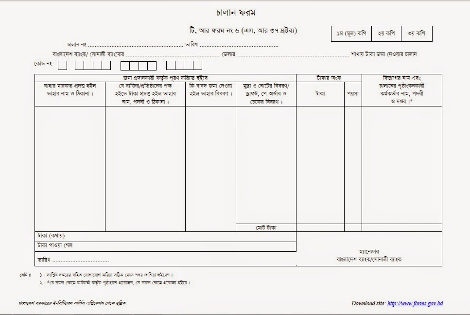 Official Necessary Documents Treasury Challan Form