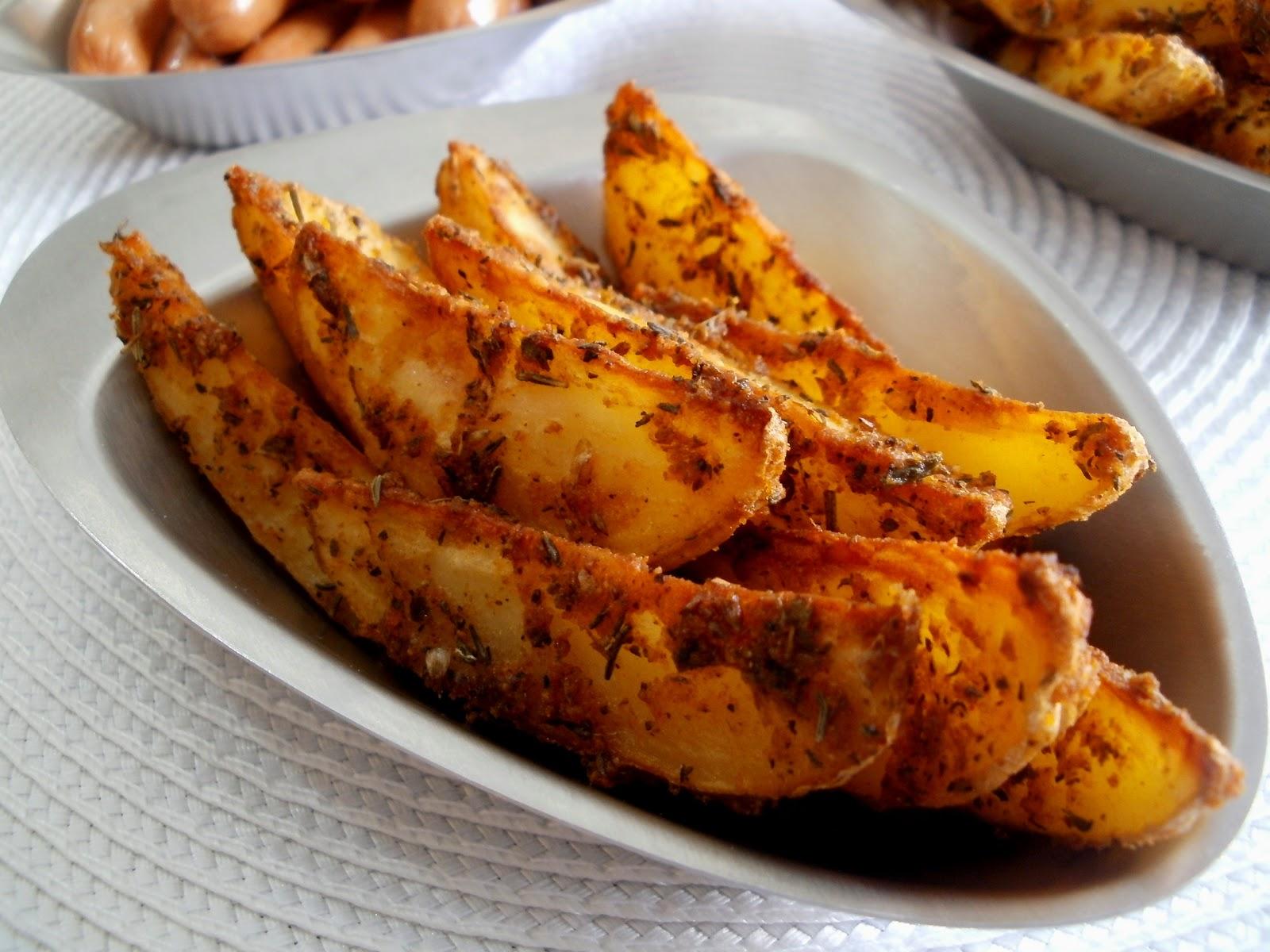 Los antojos de clara gajos de patatas especiadas al horno - Patatas pequenas al horno ...