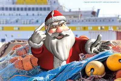 Le Père Noël à Sète coincé dans les filets de pêche