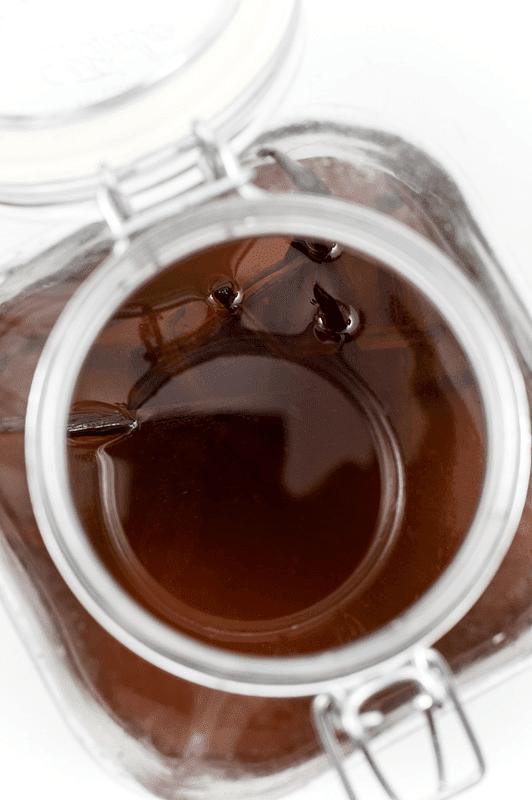 Homemade vanilla extact in jar top shot