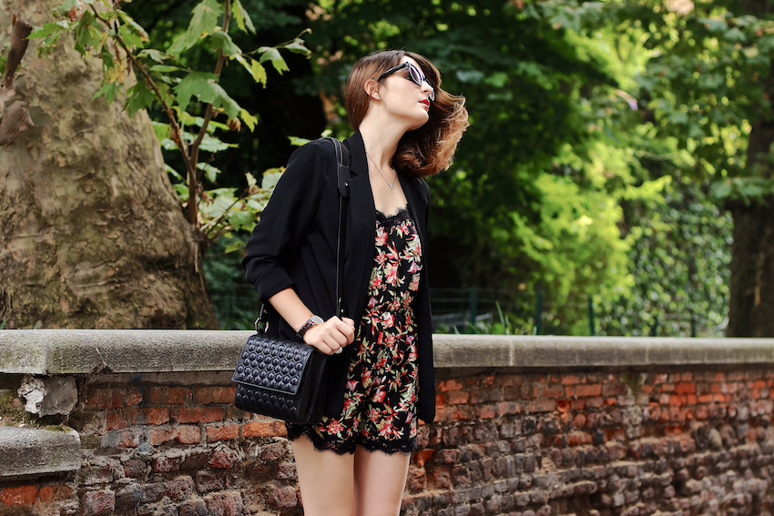 A summer city look featuring a printed playsuit with lace details, wedges and a black chic blazer. irene buffa
