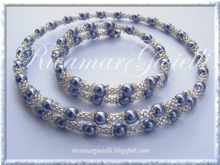 bracciale e collana filo armonico, tubicini in peyote e perle