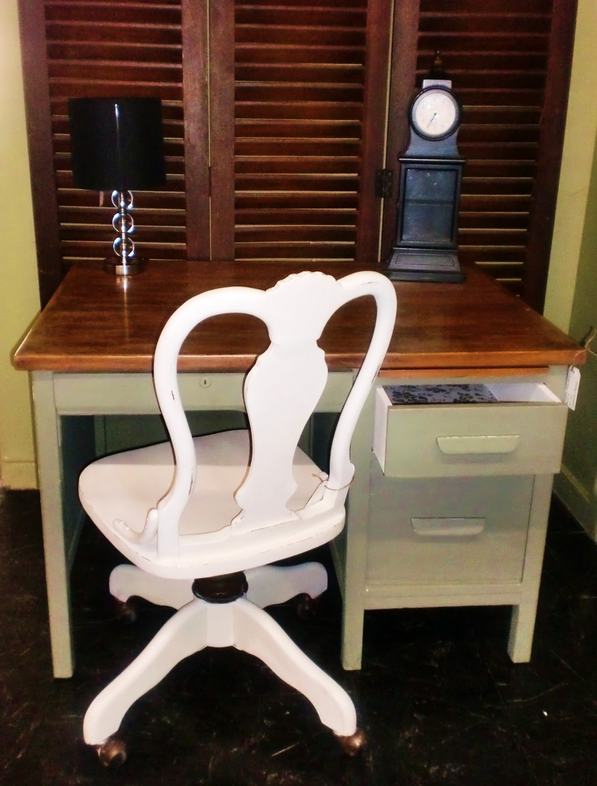 Chateau Grey Desk And Old White Queen Anne Chair