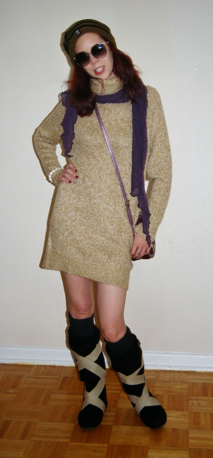 My Style!: Warm + Chic: H+M Sweater Dress, Lahtiset ryppy wool felt boots, Aarika Pohjola Wooden Bracelet from Uniiki, Guess Purse, Purple Scarf, fashion, styletips, shopping, toronto, canada,ontario, outfit, winter, the purple scarf, melanieps, finland, finnish, design, aki choklat,insideout, pug gear, toque