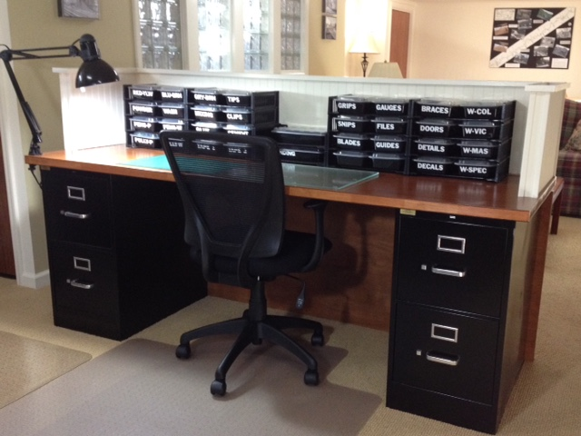 The Hollow Core Doors Were Stained And Coated With Several Coats Of  Urethane. One Serves As The Desk Top While The Other Serves As A Screen For  The Lower ...
