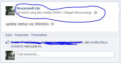 Status Facebook via SMAN 1 Glagah