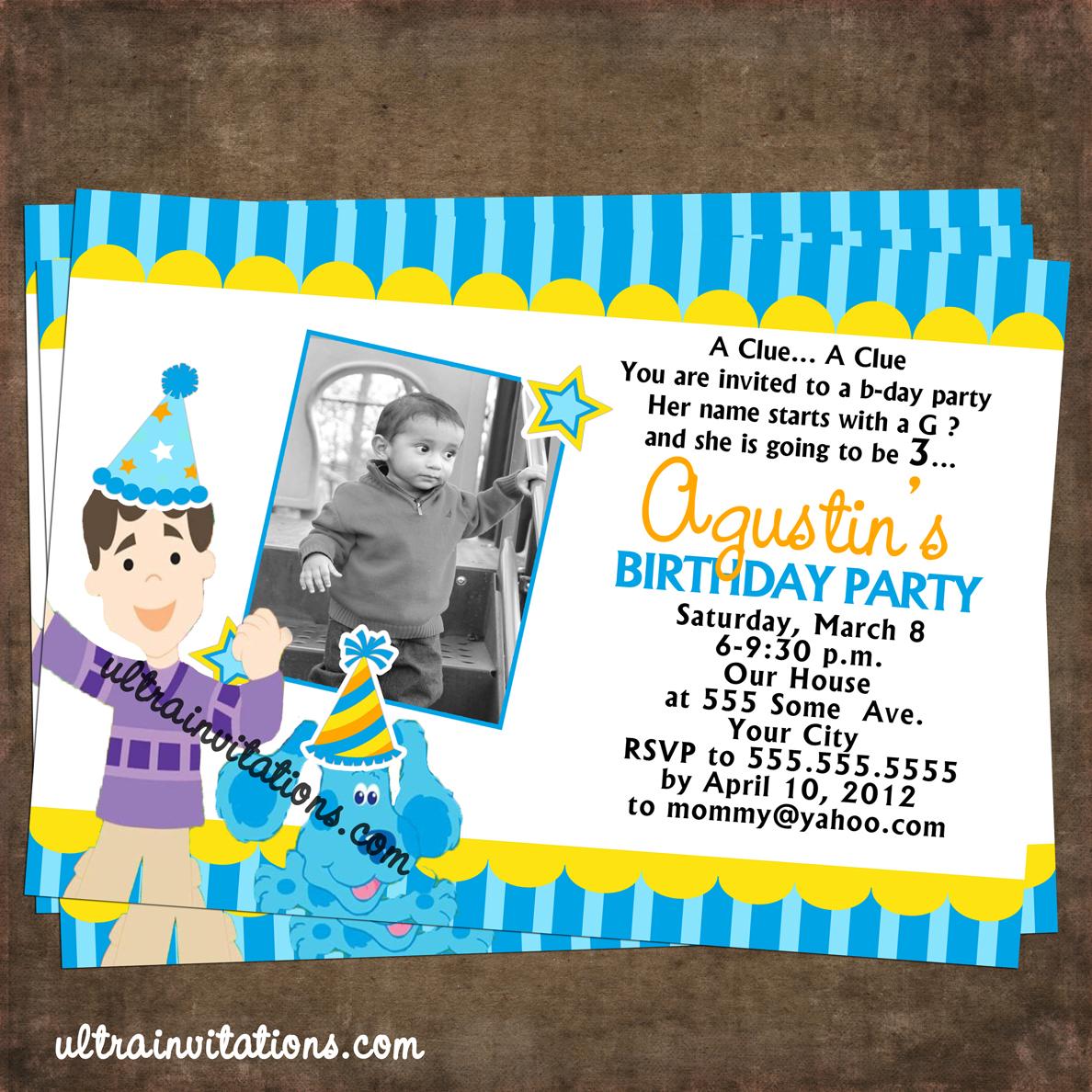 Ultra Invitations: blues clues invitations birthday photo ...