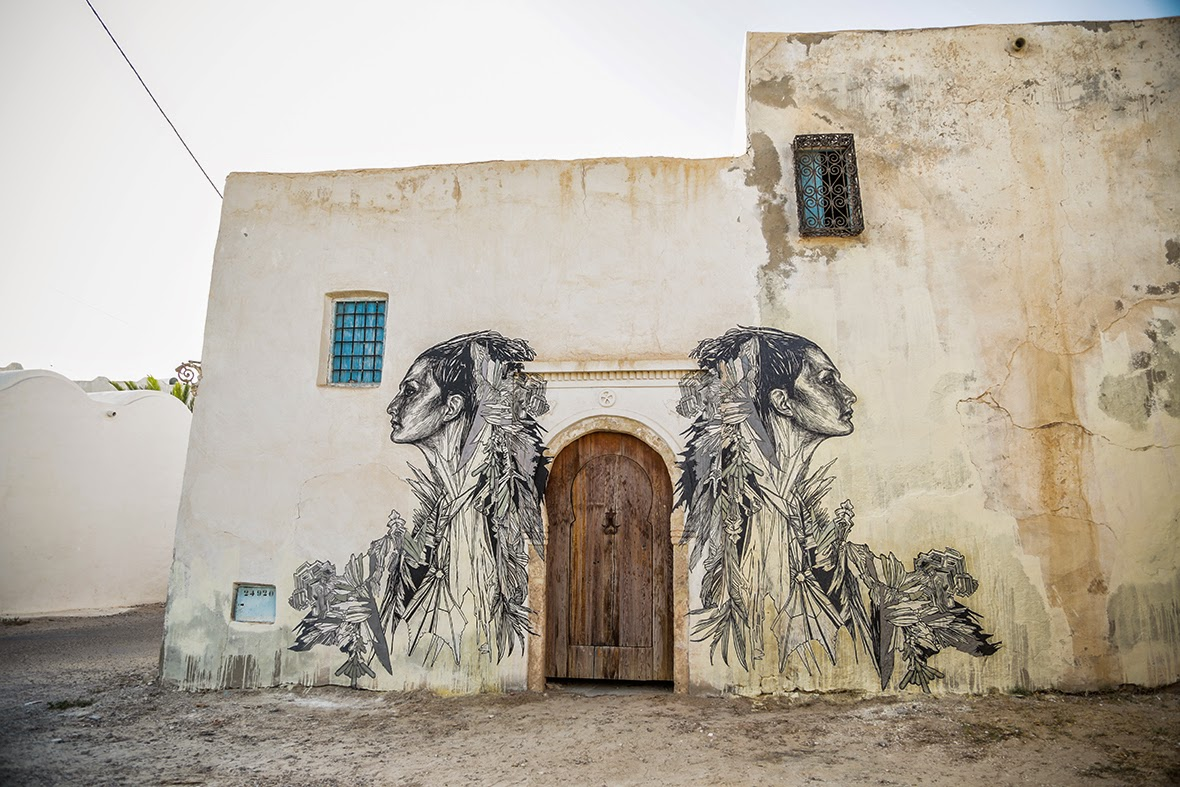 Swoon was also invited for the Djerbahood project to paint on the island of Djerba in Tunisia.