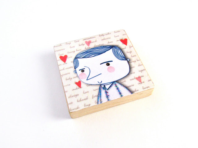 I Love my Boyfriend Art Magnet by Walter Silva