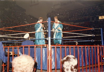 Jacques and Raymond Rougeau in their blue robes prepare to wrestle The Hart Foundation in Toronto at Maple Leaf Gardens on Dec 28, 1986.