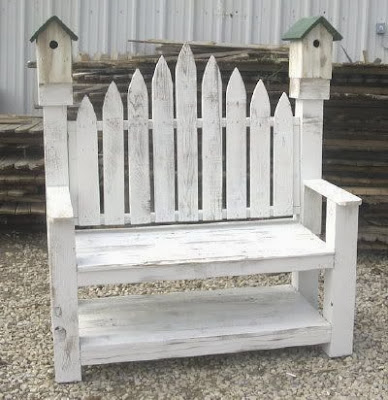 diy wooden bench with birdhouses