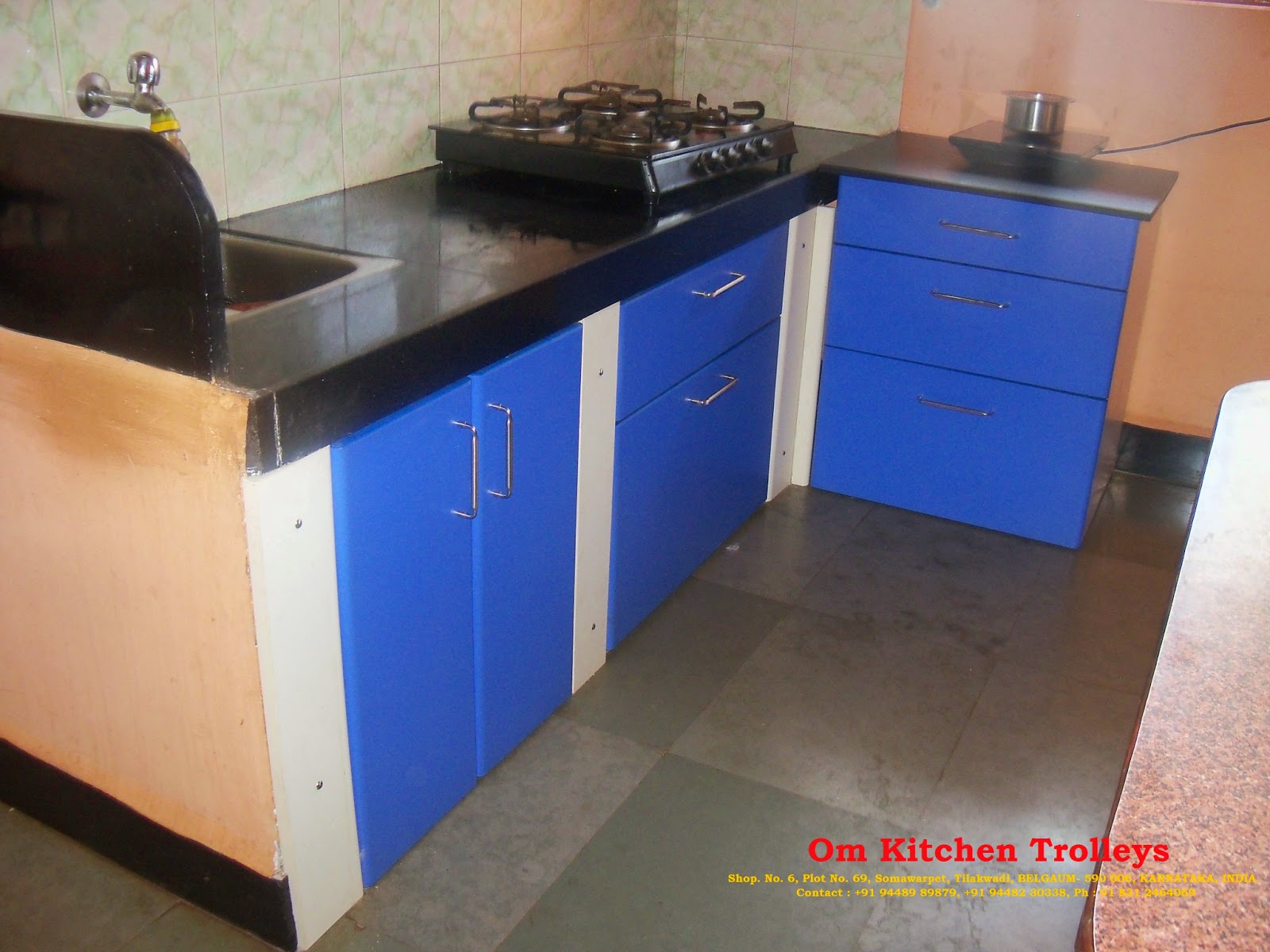 Duroflex kitchens modular kitchens amp kitchen -  Modular Kitchen Trolley By Om Kitchen Trolleys Modular Kitchen Trolleys