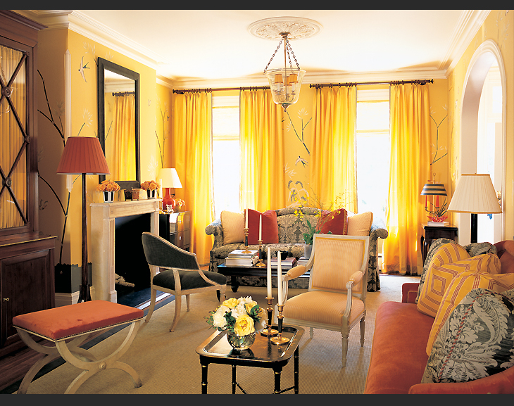 Orange and Yellow Living Room Designs
