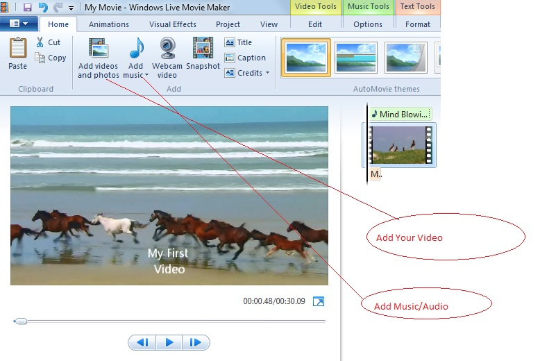 create a video in windows live movie maker