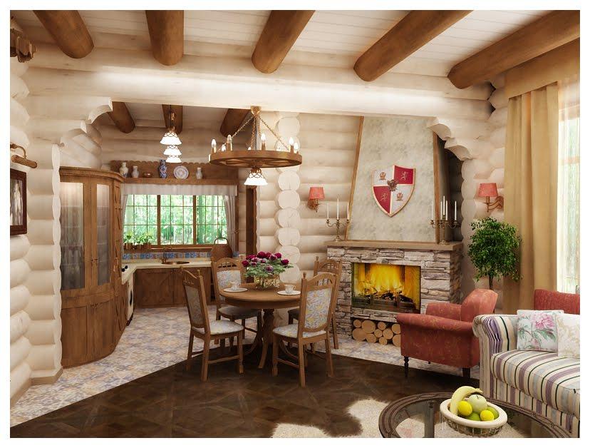 Кухня гостиная дизайн для бревенчатого дома