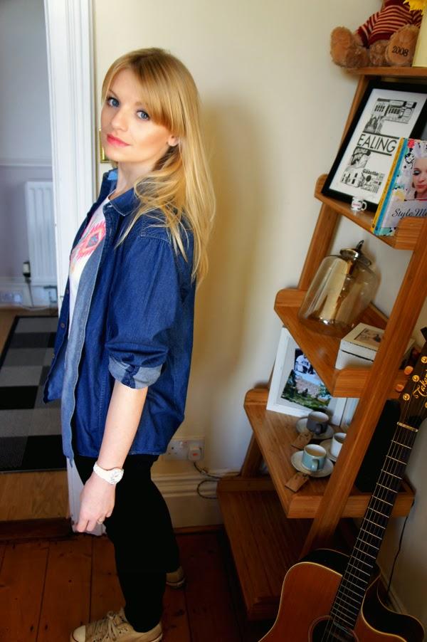 fashion blogger denim shirt