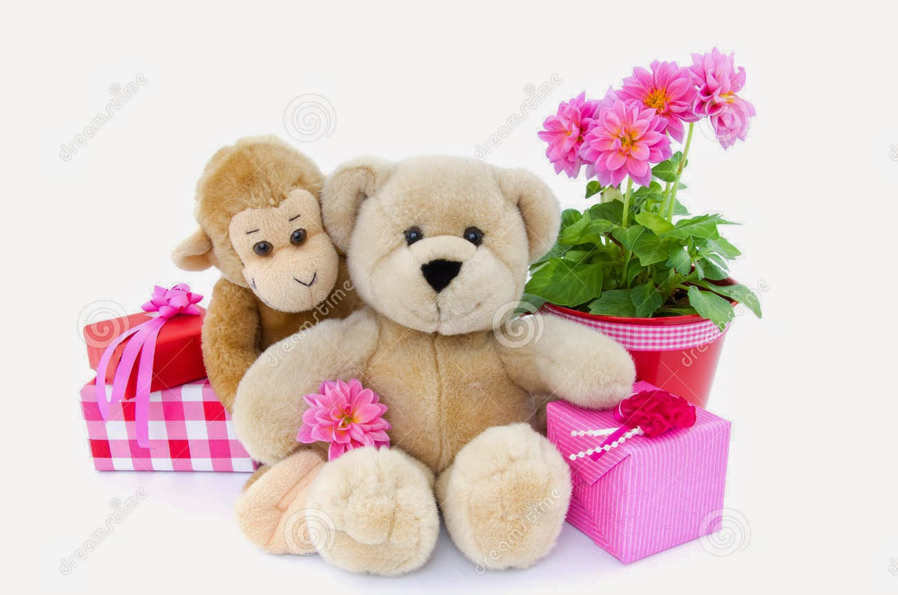 Happy Birthday Teddy Bear With Flowers