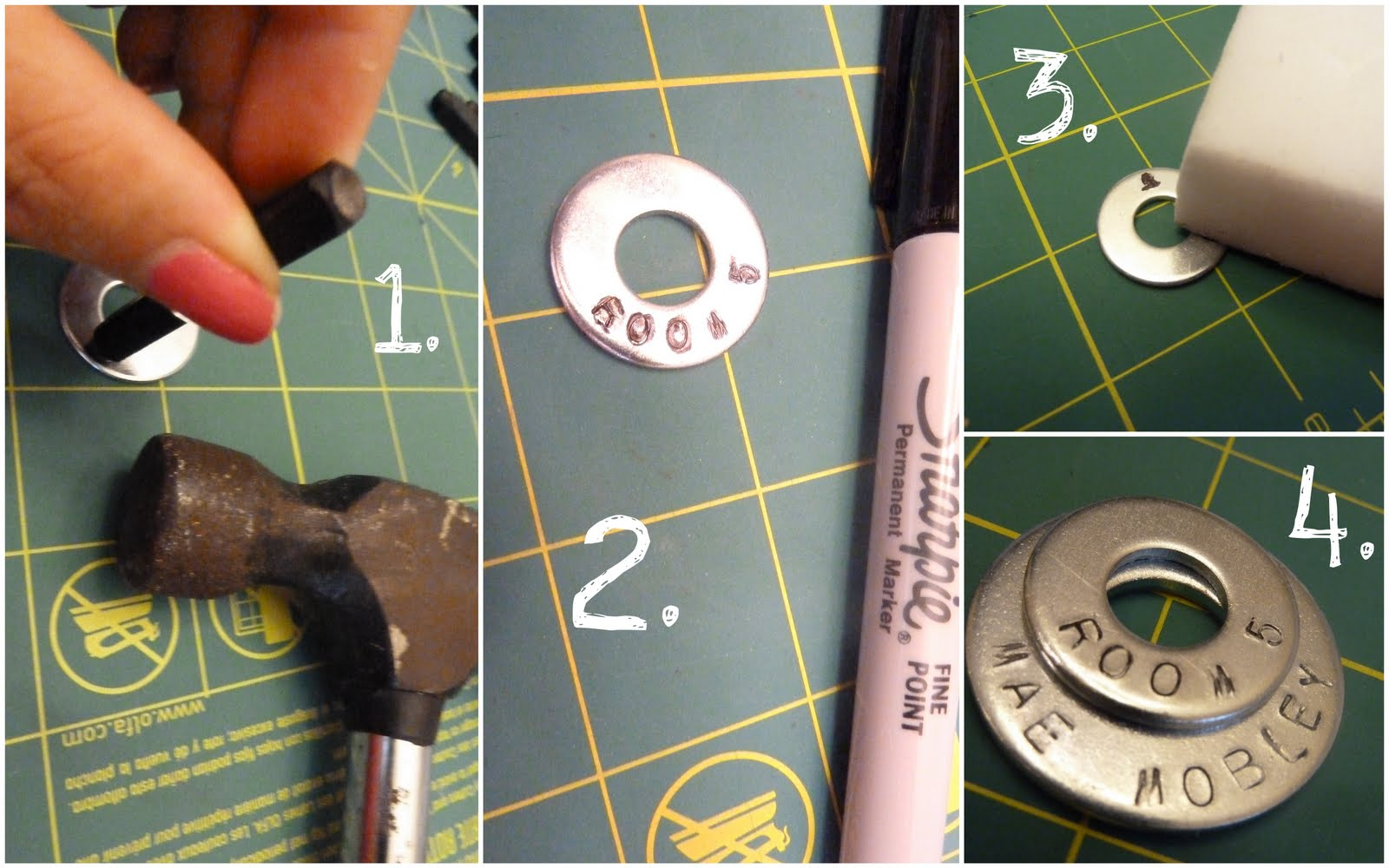 Name tag craft ideas - Stamped Washer Name Tag Necklace