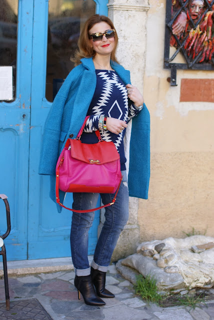 Miu Miu rasoir sunglasses, aztec sweater, Blue oversized coat, Marc by Marc Jacobs color block bag, Fashion and Cookies, fashion blogger