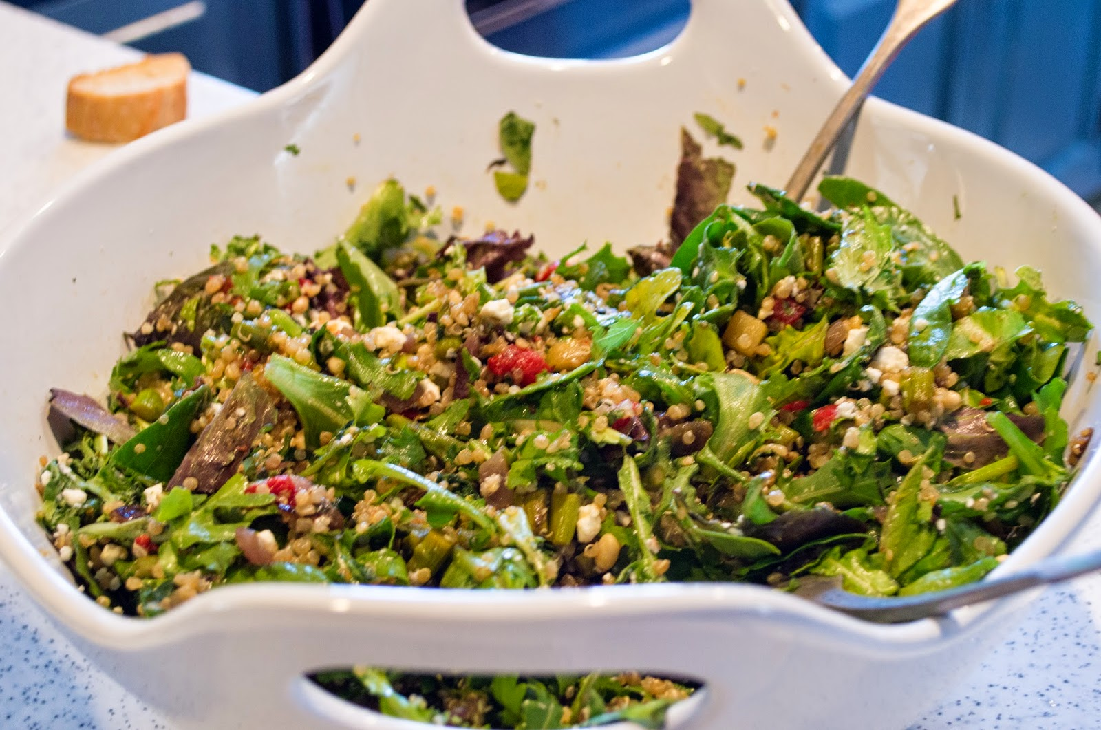 Quinoa salad with feta and pine nuts