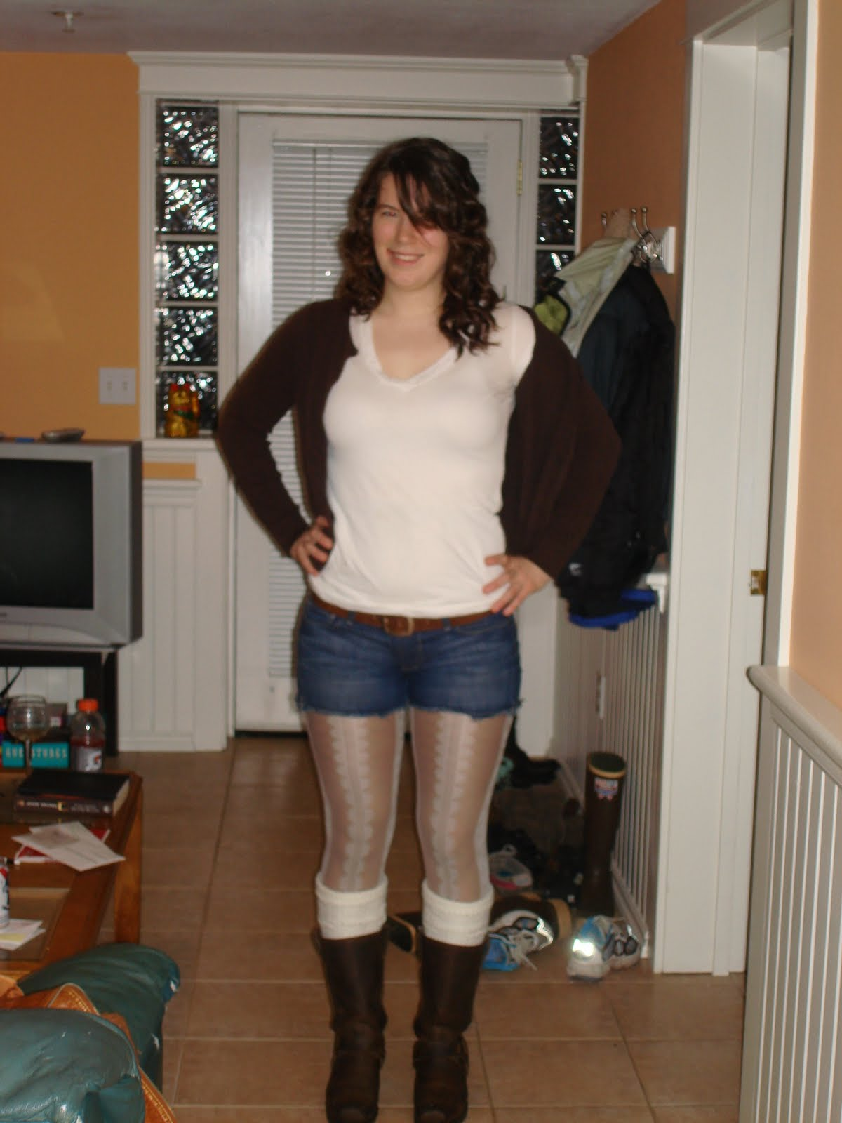 Leggings And Boots http://diagonalleftandrightstyle.blogspot.com/2011/02/shiny-printed-tights.html