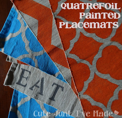quatrefoil, chevron, and stenciled painted placemats