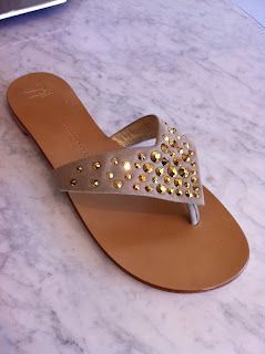 Giuseppe Zanotti Beige/Gold Flip Flops