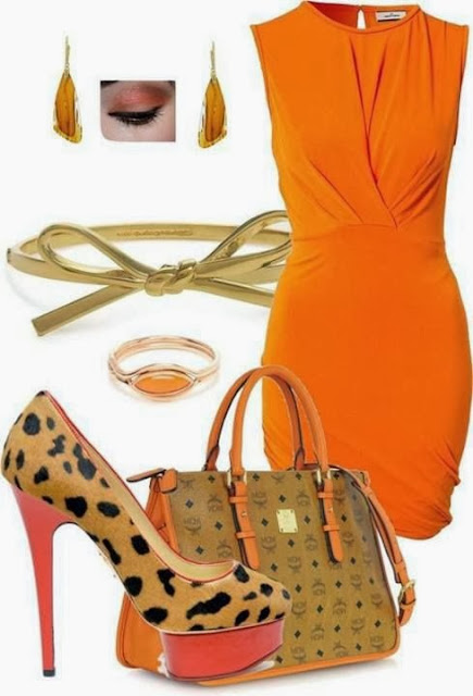 Adorable orange dress with matching high heel sandals and handbag