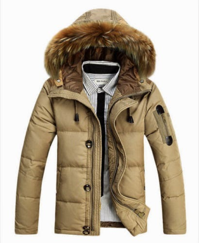 Men Warm Duck Down Jacket Fur Collar Thick Winter Coat Outwear Hooded Parka