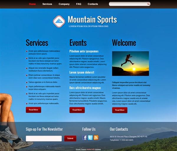Mountain Sports - Free Drupal Theme
