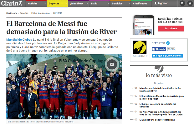 Print do Barcelona no Clarin
