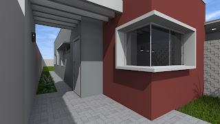 Casa 70m2, modelada com sketchup e renderizada com artlantis