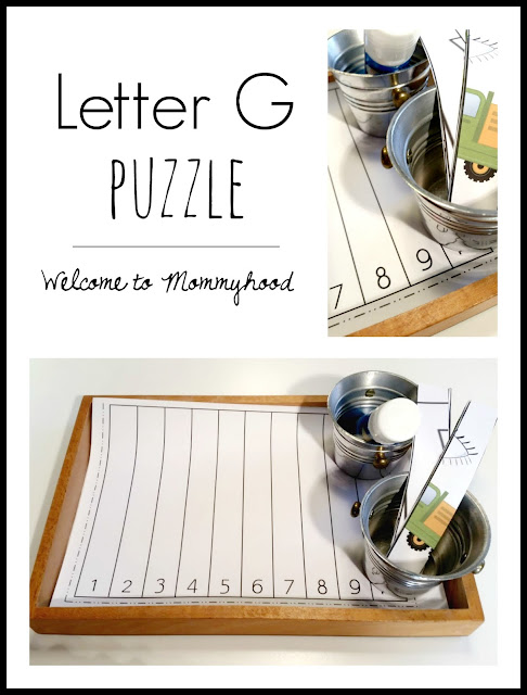 Tot Labs presents hands on letter G activities for toddlers and preschoolers by Welcome to Mommyhood, #preschoolactivities, #montessoriactivities, #montessori, #handsonlearning, #letteroftheweek, #lotw, #freeprintables