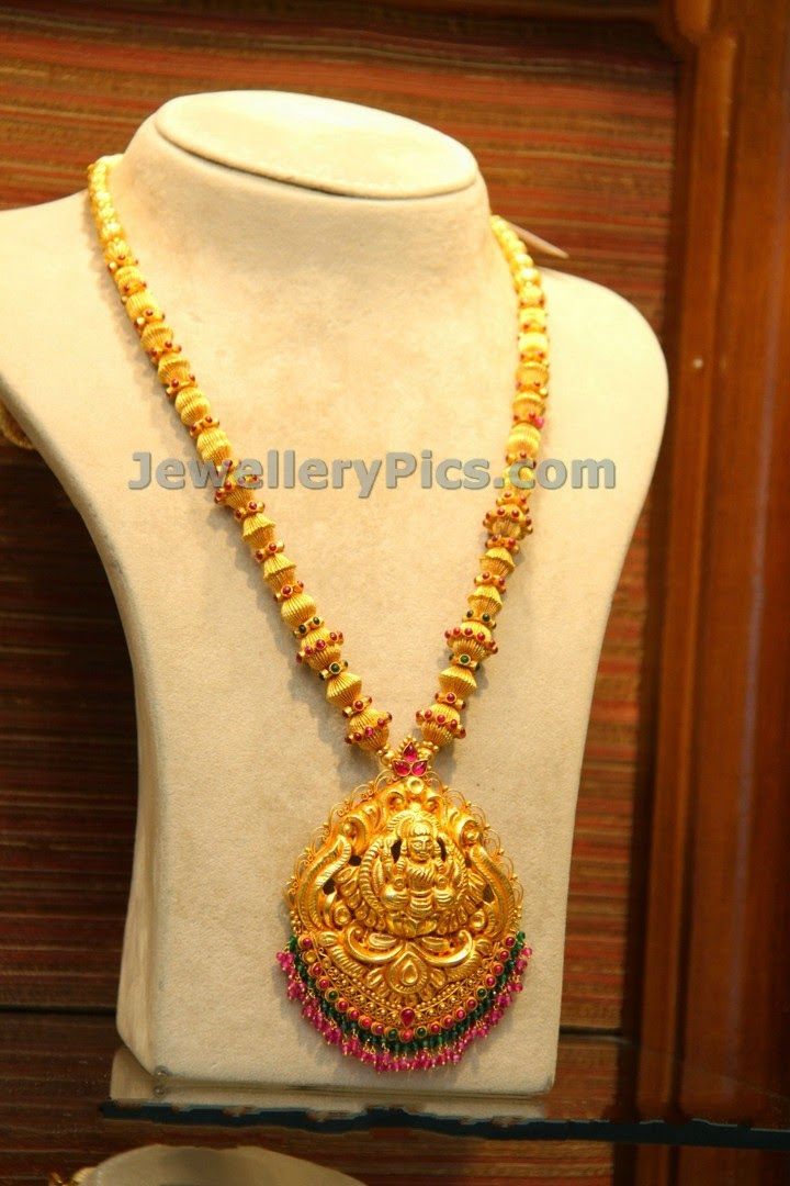 Traditional long necklace with beautiful lakshmi devi ...