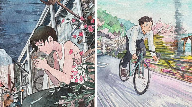 La inspiradora serie de acuarelas Bicycle Boy por Studio Ghibli