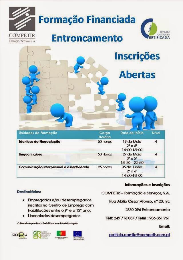 Formação financiada Nível IV no Entroncamento (também para Licenciados/as Desempregados/as)